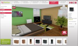 Capture écran d'un logiciel d'aménagement d'intérieur